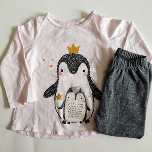 Baby Girl's 9M Pink Princess Penguins Gray Outfit